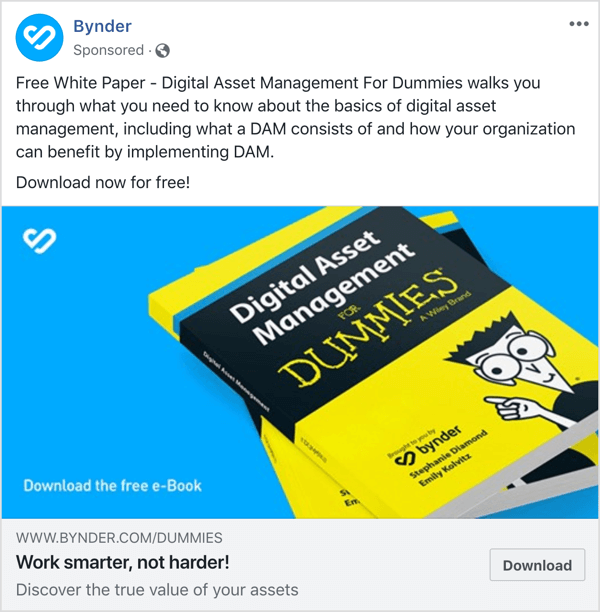Facebook ad example top of funnel