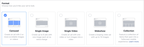 Format options for Facebook ads