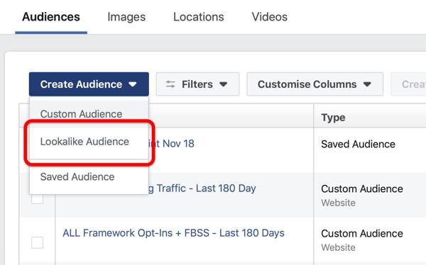 Optie om een Facebook Lookalike Audience te maken onder Create Audience in Facebook Ads Manager.