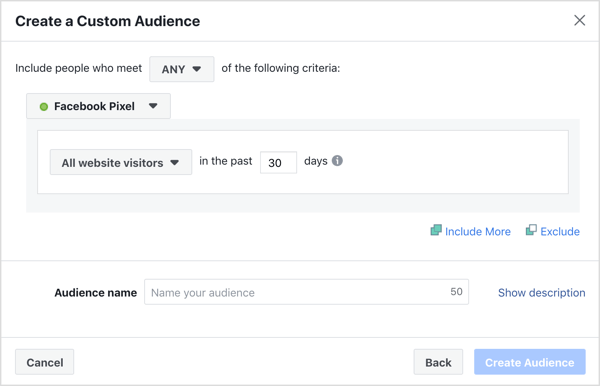 Create a website custom audience for targeting your Facebook ads.