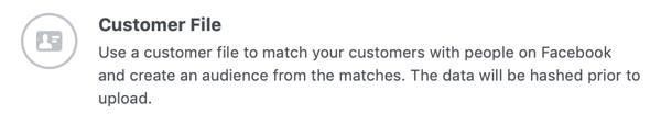 Optie om een aangepaste Facebook-doelgroep te maken vanuit een klantenbestand.