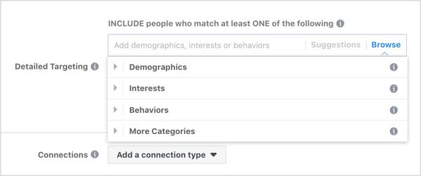 Durchsuchen Sie die detaillierten Targeting-Optionen für Facebook-Anzeigen.