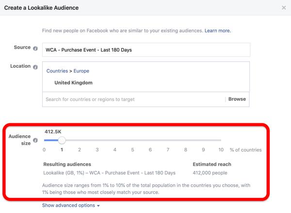Grootte van doelgroepen bij het maken van uw Facebook Lookalike-doelgroep van uw aangepaste doelgroep.
