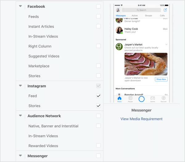 Select Instagram placements only for Ad Set B