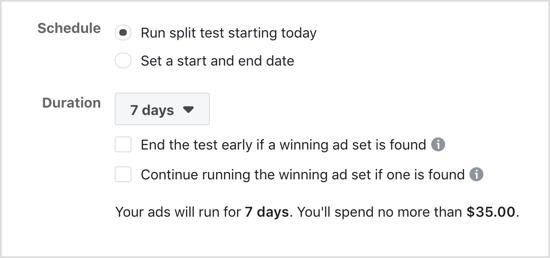 Select Run Split Test Starting Today option for Facebook split test.