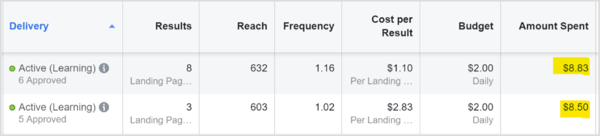 Roughly equal ad spend between Facebook and Instagram placements for split test.