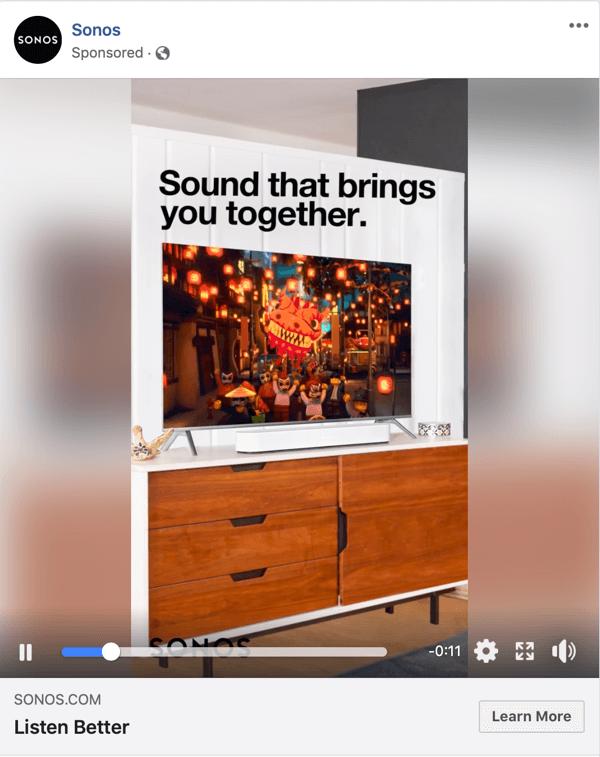 Voorbeeld van een Facebook Video-advertentie van Sonos.
