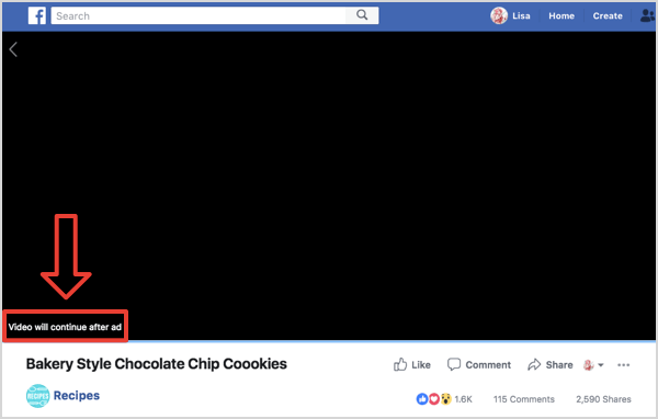 Facebook Watch ad break.