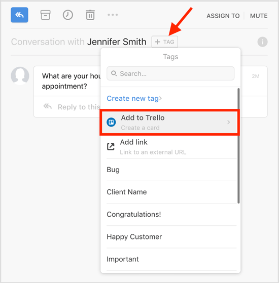 Select the Add to Trello option in the Front app.
