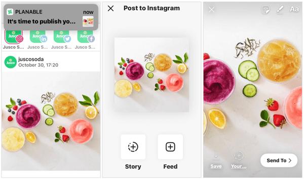 Schedule Instagram story via Planable