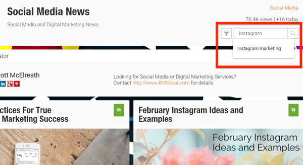Example of a filter for content feeds in Scoop.it.