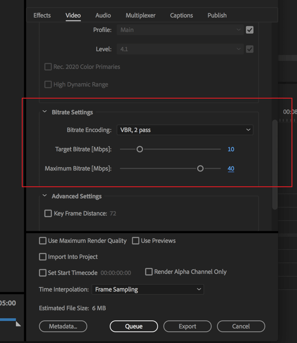 Setting to change the bitrate on your Adobe Premier Pro video export.