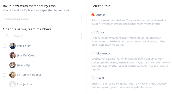 Details screen to invite and select a role for your Agorapulse team Member.