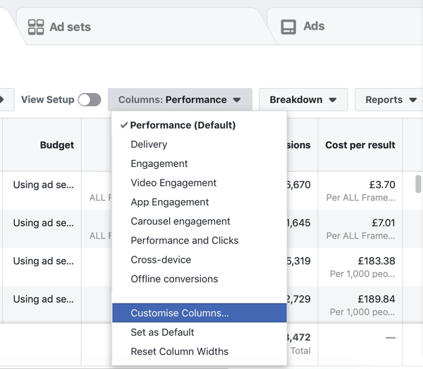 Select Customize Columns from the Columns: Performance drop-down menu in Ads Manager.