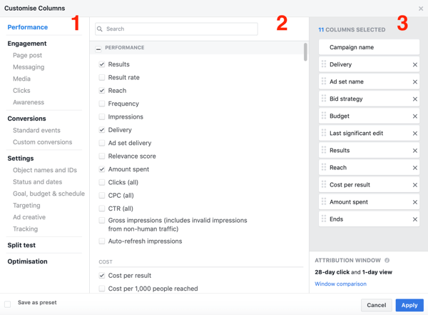 Example of Facebook Ads Manager reporting creation window.