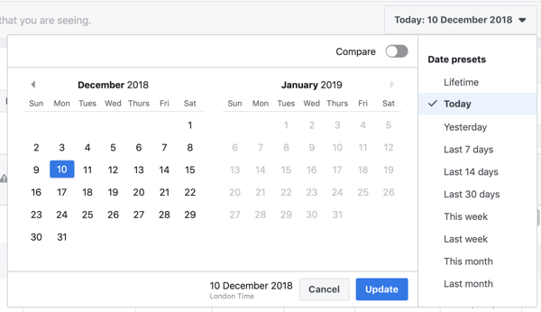 Option to set the date range for your Purchase and ROAS Facebook Ads Manager report.
