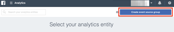 The Create Event Source button inside Facebook Analytics.