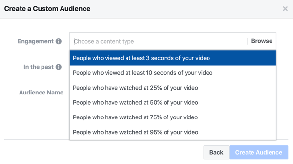 Option to create a Facebook ad custom audience of people who watched a portion of your video.
