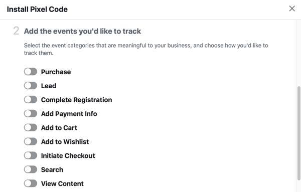 Options of events you'd like to track with your Facebook Pixel.