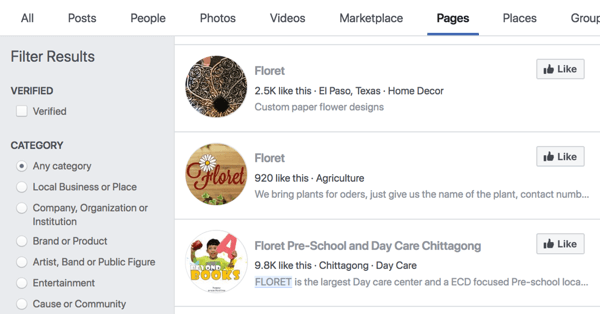 Facebook pages search results for Floret.