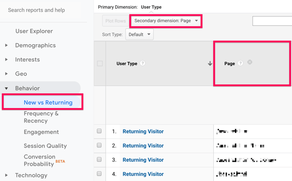 Option to access the New vs Returning report from the Behavior menu under Audience, in Google Analytics.