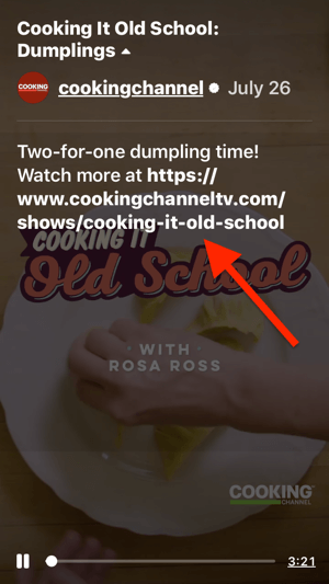 Example of a clickable video link in the description of Cooking It Old School's IGTV episode 'Dumplings'.