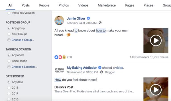 Zoekresultaat voor de zinsdelen 'hoe' en 'kneden' in Facebook-zoekopdrachten.