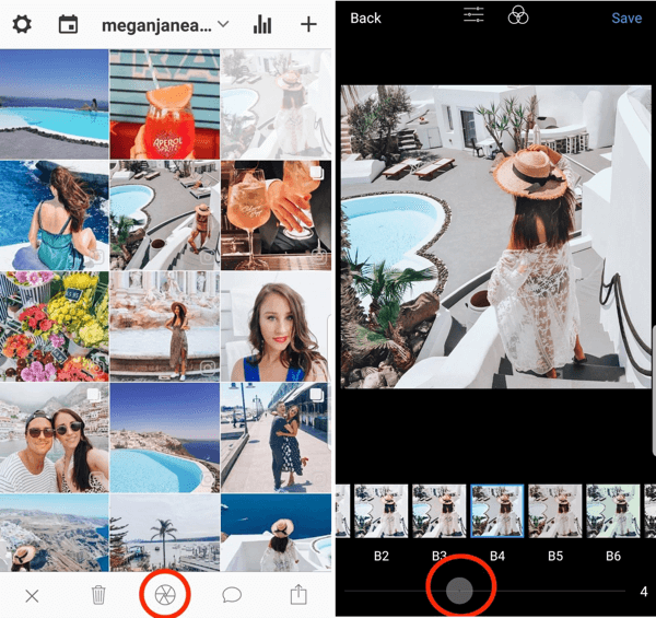 In Preview, tap the wheel icon to edit the image, and use the slider to increase or decrease the effect of a filter.