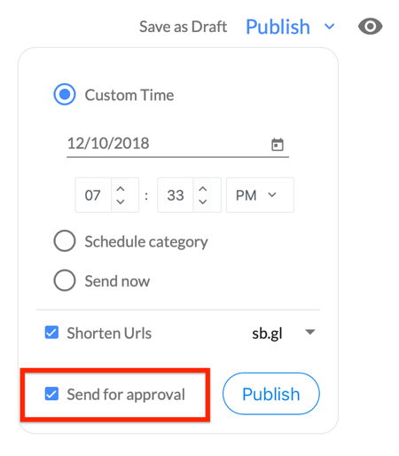 Select the checkbox to send your Socialbrew post for approval.