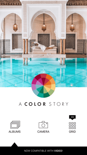 Create an A Color Story Instagram story step 1 showing upload options.