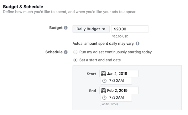 Budget- en planningsopties voor een Facebook lead-advertentiecampagne.