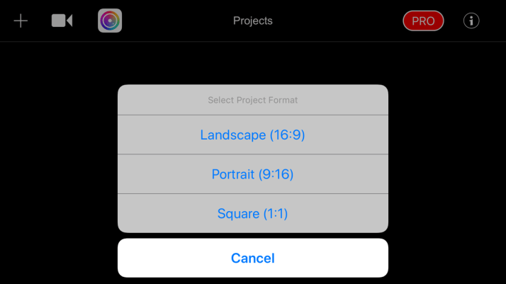 Create a Filmmaker Pro Instagram story step 1 showing sizing options.