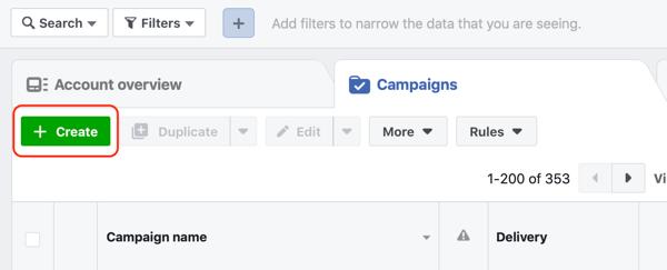 Hoe u warme leads kunt targeten met Facebook Messenger-advertenties, stap 1, maak een campagne in Advertentiebeheer