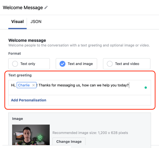 Hoe u warme leads kunt targeten met Facebook Messenger-advertenties, stap 12, voorbeeld van gepersonaliseerde personalisatie van de messengerbestemming