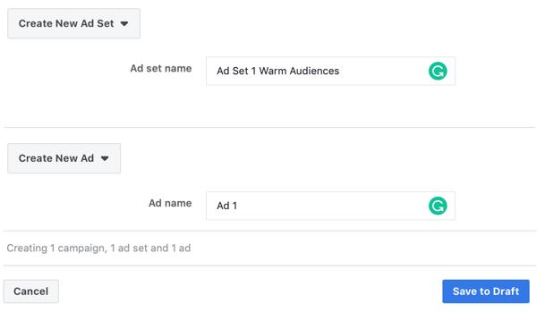 Hoe u warme leads target met Facebook Messenger-advertenties, stap 3, advertentie- en advertentieset naaminstellingen