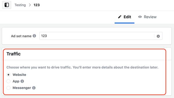 Hoe u leads kunt krijgen met Facebook Messenger-advertenties, campagnemenu voor verkeersdoelen