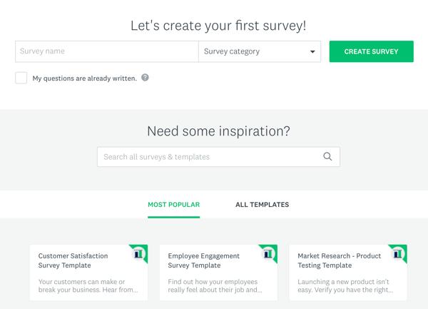 Facebook advertentietechnieken die resultaten opleveren, opties om een Survey Monkey-enquête te maken