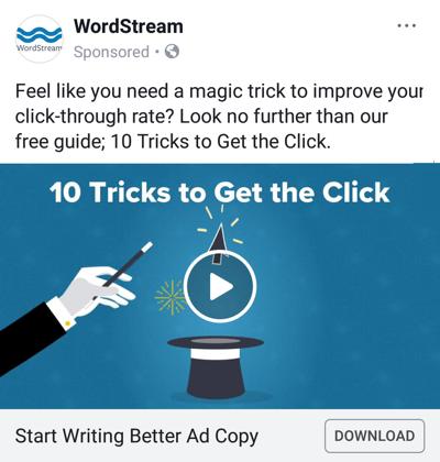 Facebook advertentietechnieken die resultaten opleveren, bijvoorbeeld door WordStream met een gratis gids