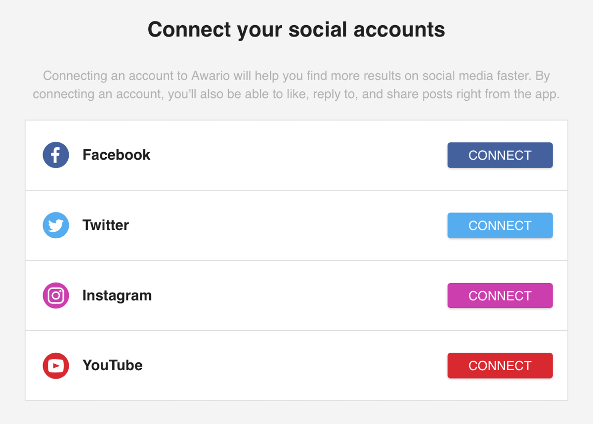 Measure marketing results, evaluate keywords and sentiment, step 6, connect your social accounts to Awario