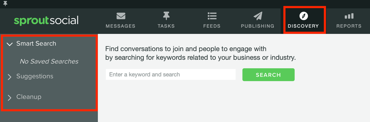 Measure marketing results, assess audience activity and engagement, step 6, Sprout Social discovery tab search options