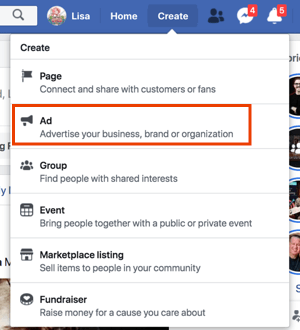 Crea annunci Facebook facendo clic su Crea dal tuo profilo Facebook.