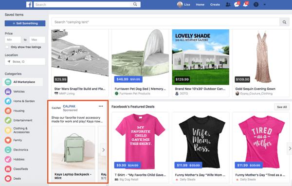 Le pagine possono anche pubblicare annunci nel Marketplace di Facebook.