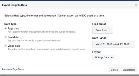 قم بتصدير بيانات Facebook Insights لتبسيط تحليل البيانات.