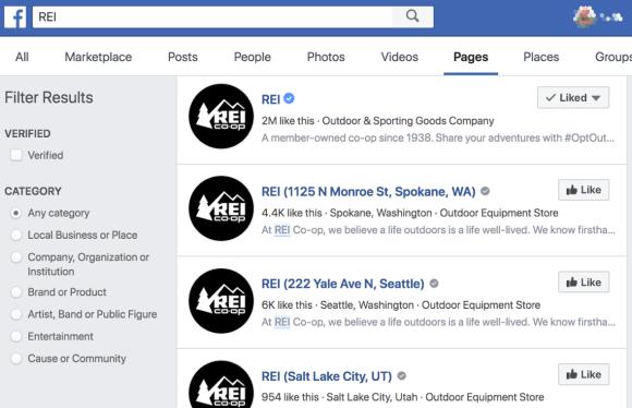 تسهل صفحات موقع Facebook على الأشخاص العثور على المتاجر والمكاتب القريبة منهم.