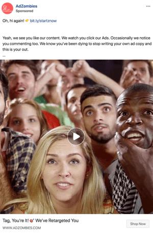 Voorbeeld van advertentietekst voor een Facebook-retargeting-advertentie.