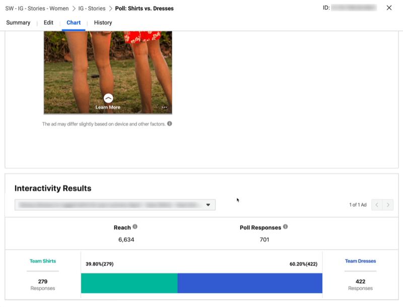 Interaktivitätsergebnisse für Instagram Stories-Anzeige mit Umfrage