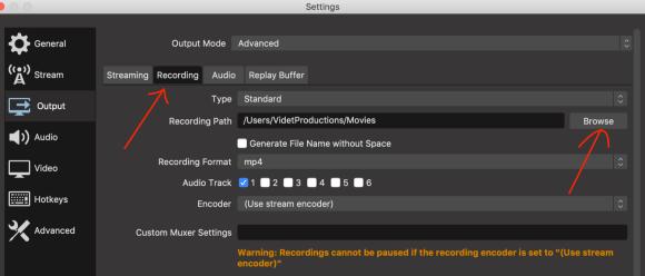 علامة التبويب تسجيل في إعدادات OBS Studio