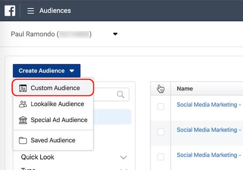 Benutzerdefinierte Zielgruppenoption in Facebook-Zielgruppen