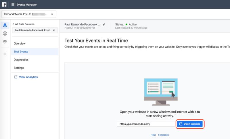 Öffnen Sie die Website-Schaltfläche im Facebook Events Manager