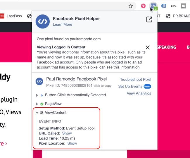 Facebook Pixel Helper, der Ereignisse zum Anzeigen von Seiten und zum Anzeigen von Inhalten anzeigt